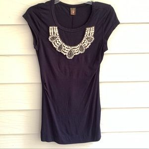 Language Navy Top with Pearl and Crystal Neckline